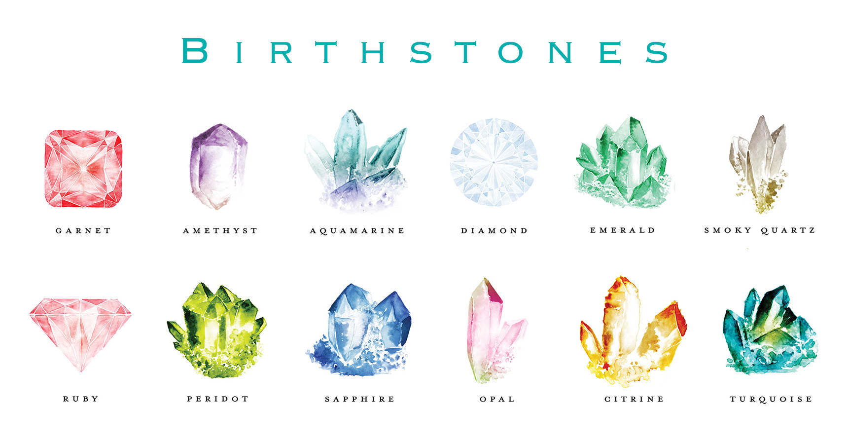 Watercolor Birthstones Chart