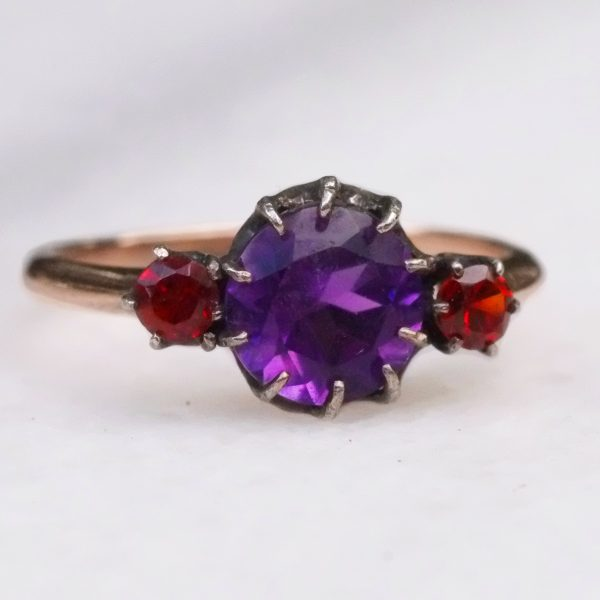 Amethyst and Sessartite Garnet Edwardian Ring