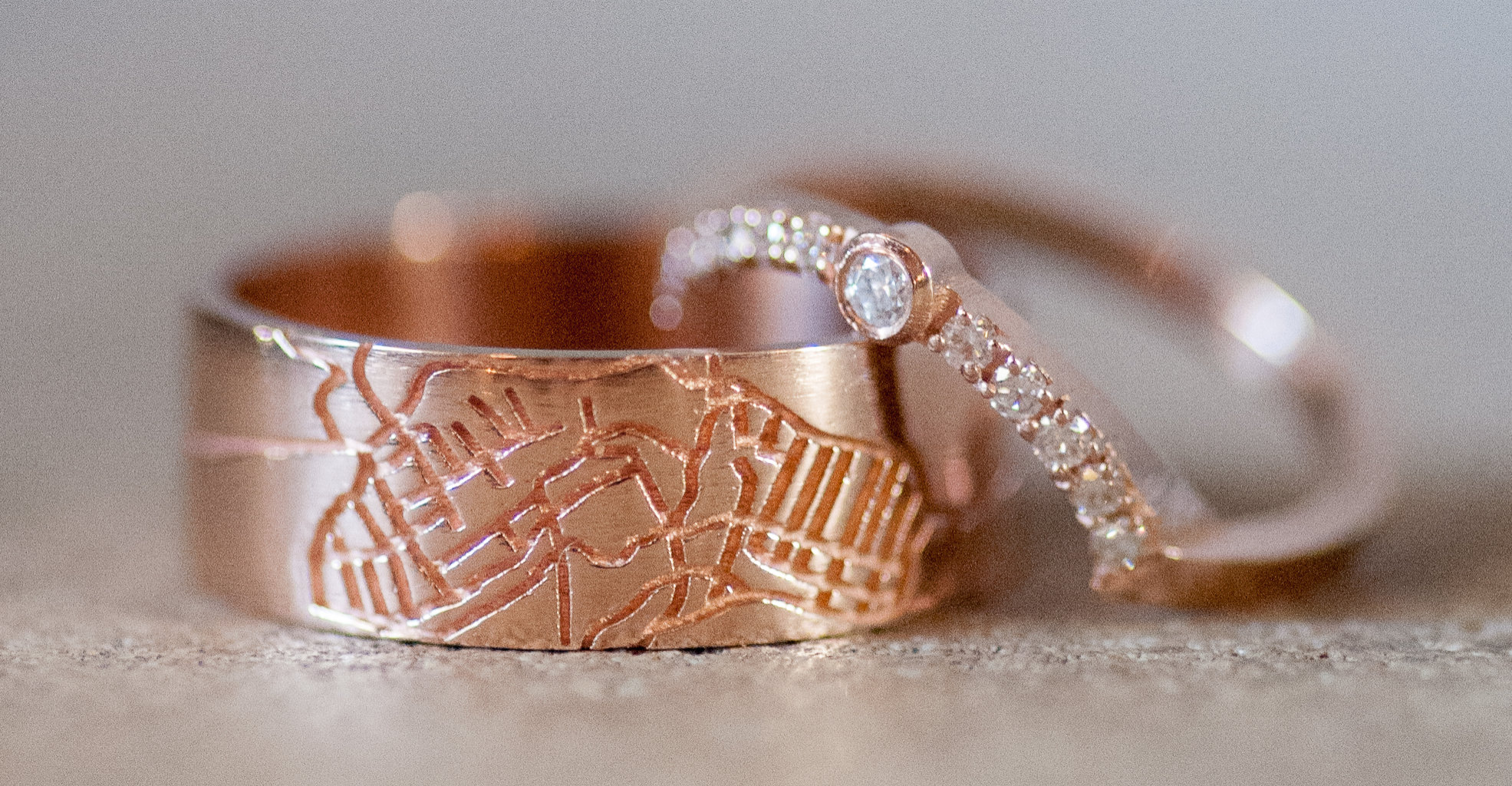 Custom Jewelry: Rose Gold Map Wedding Band