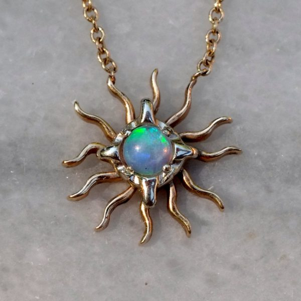 Small Opal Sunburst Necklace