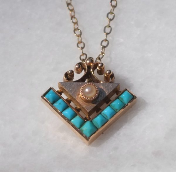 Victorian Turquoise and Rose Gold Pendant