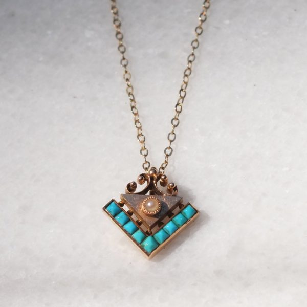Victorian Turquoise and Rose Gold Pendant3
