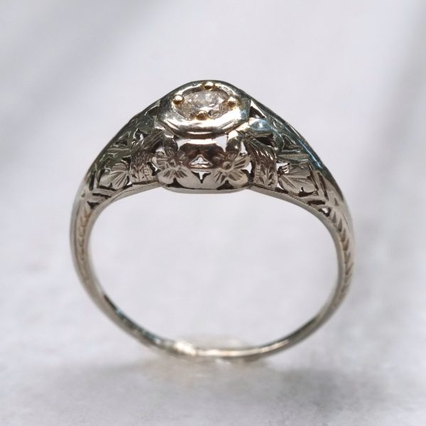 White Gold Edwardian Floral Diamond Ring