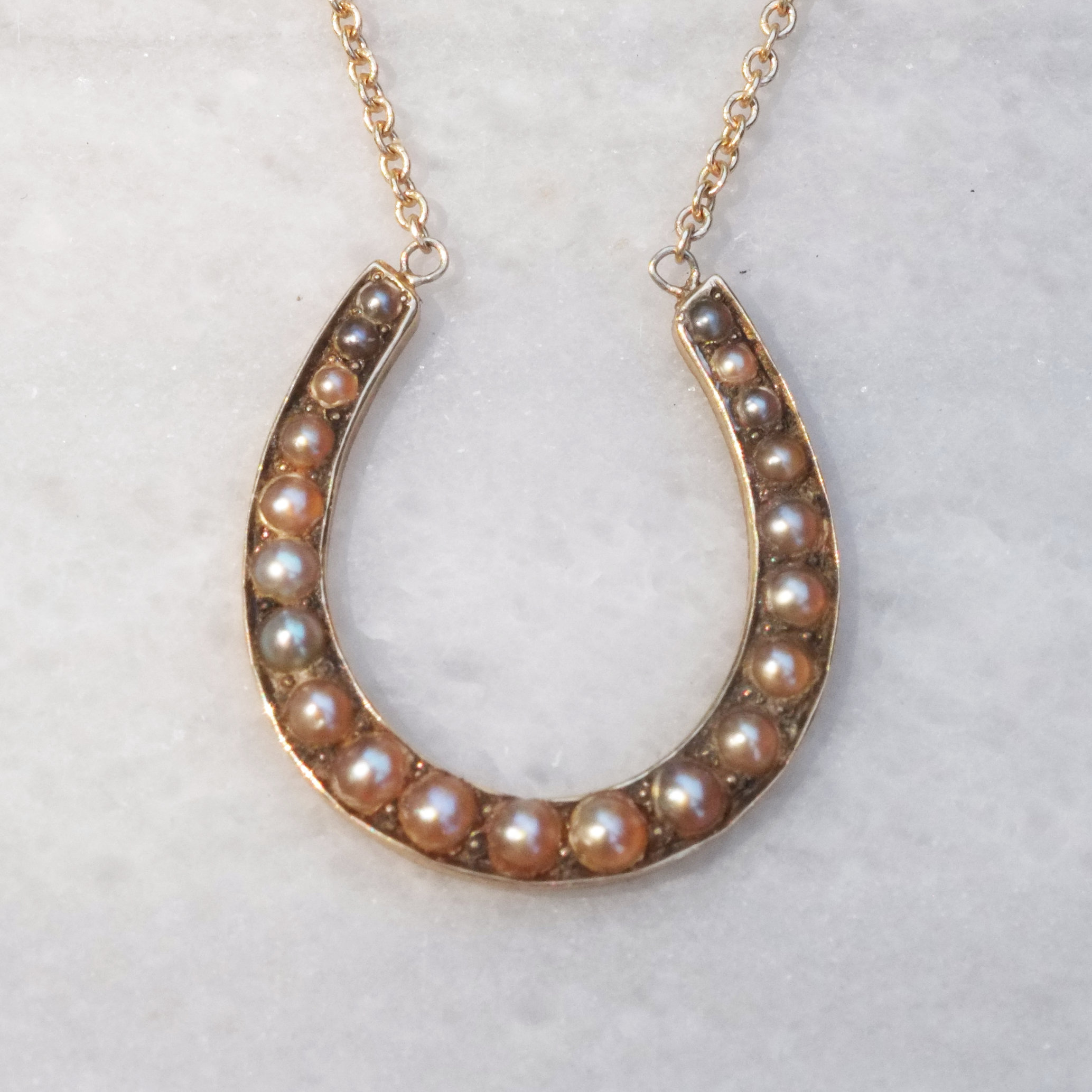 Seedpearl Horseshoe Pendant