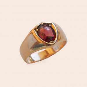 Garnet Shield Signet Ring