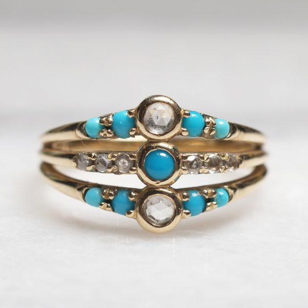 Turquoise and Diamond Harem Ring