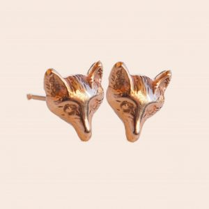 Rose Gold Fox Earrings