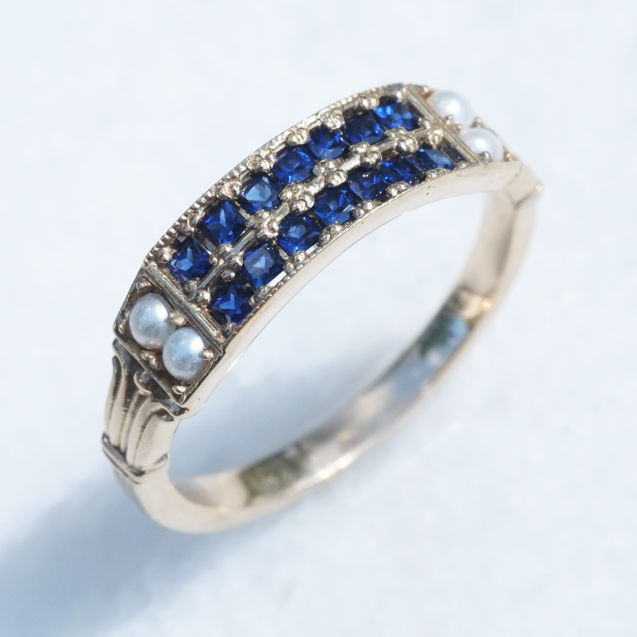 Sapphire and Pearl Victorian Inspired Ring