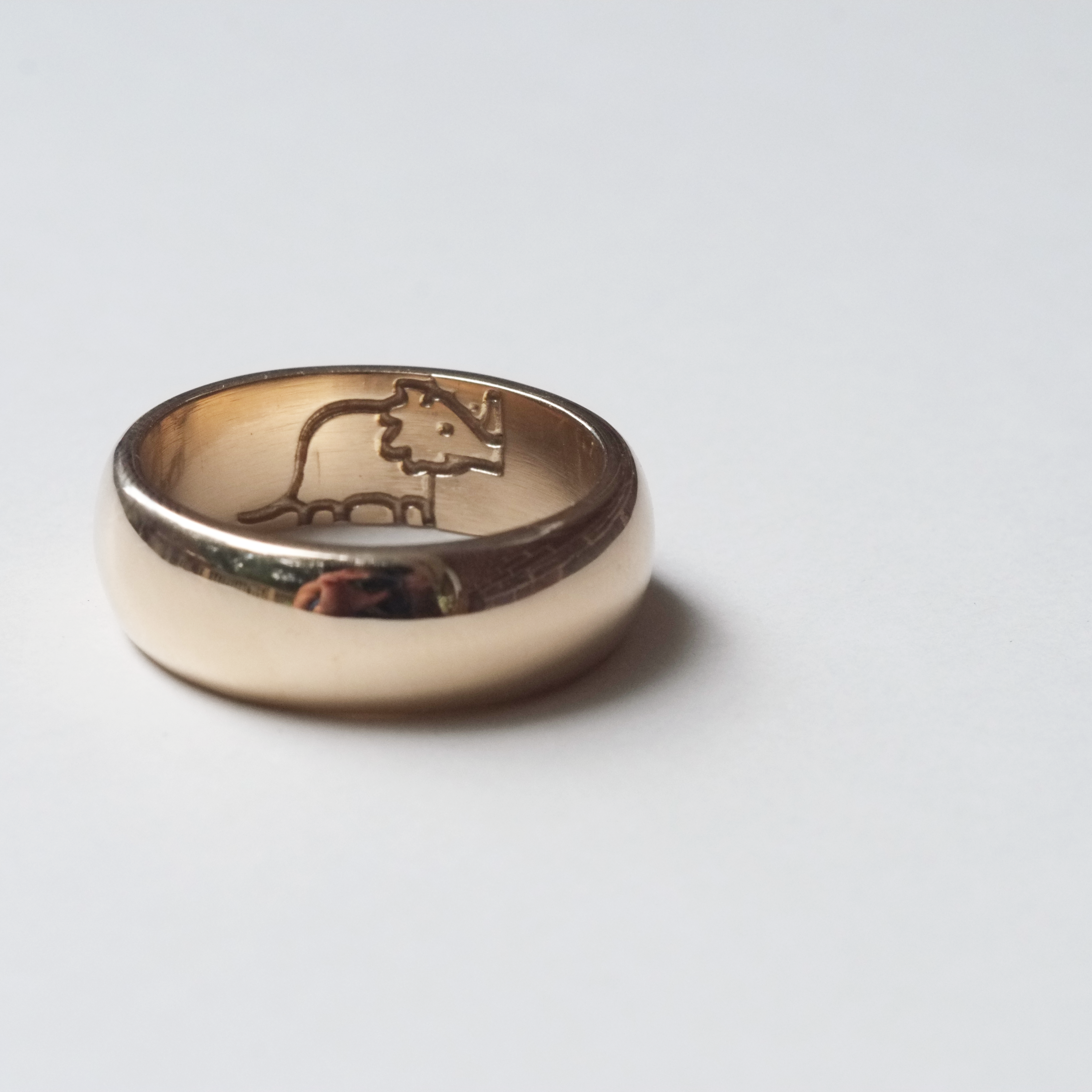 Yellow Gold Wedding Ring with Dinosaurs