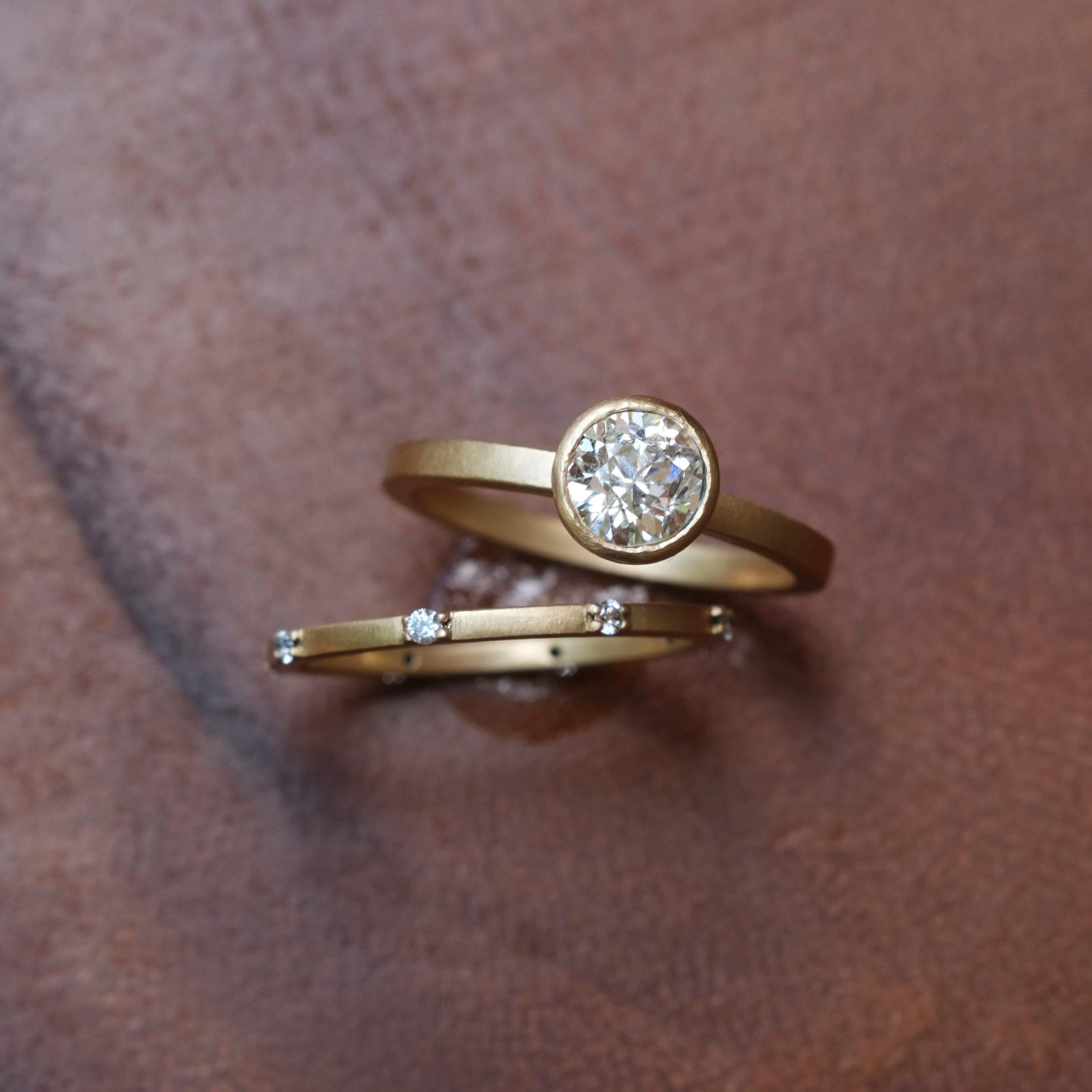 Matte Gold Old Mine Cut Wedding Set