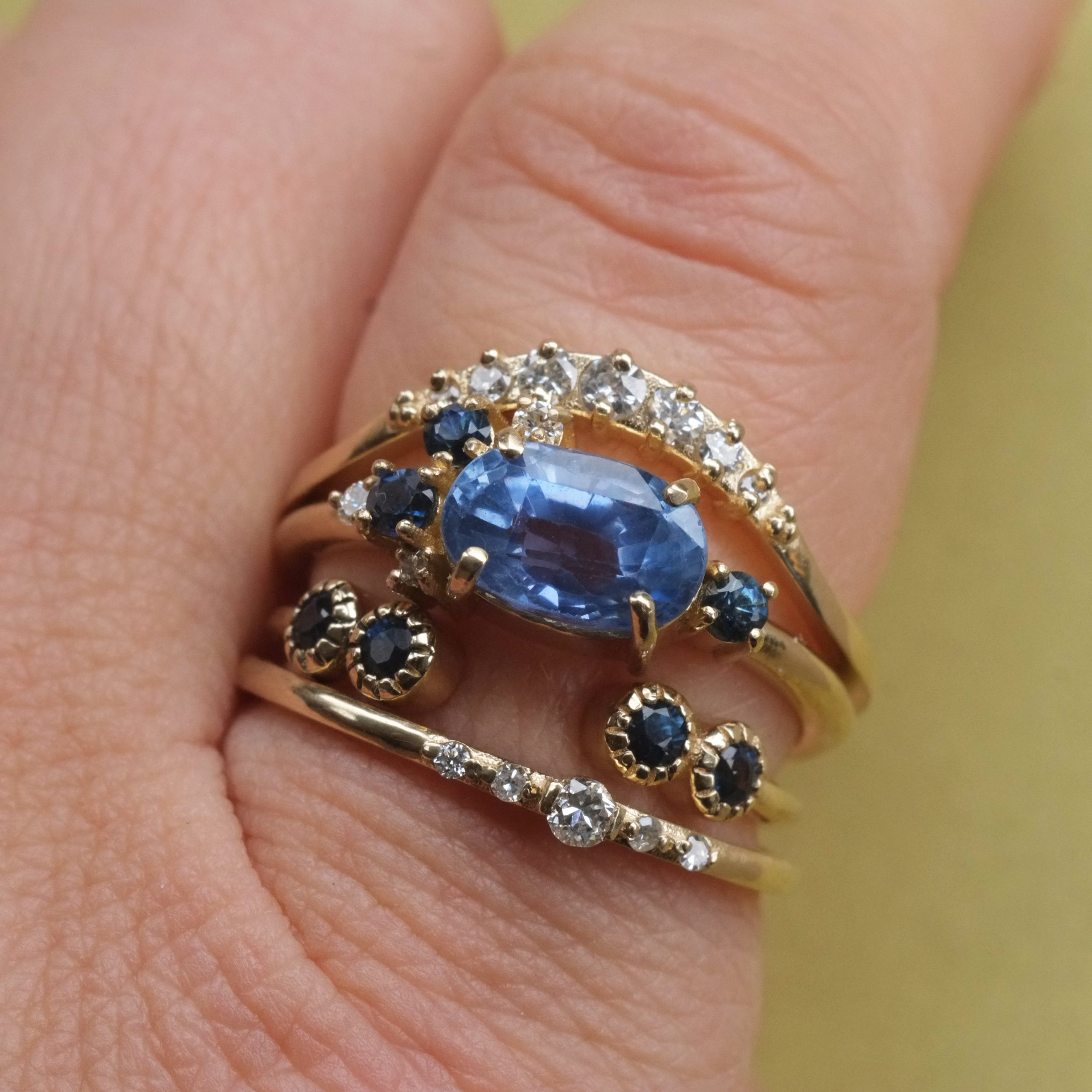 Delicate Diamond and Sapphire Stackable Rings