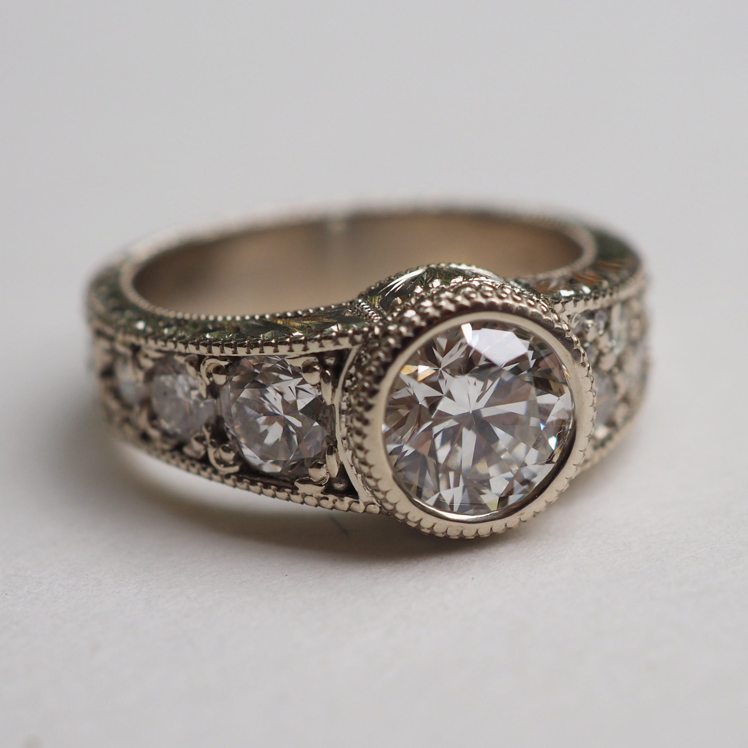 Hand Engraved Diamond Statement Ring