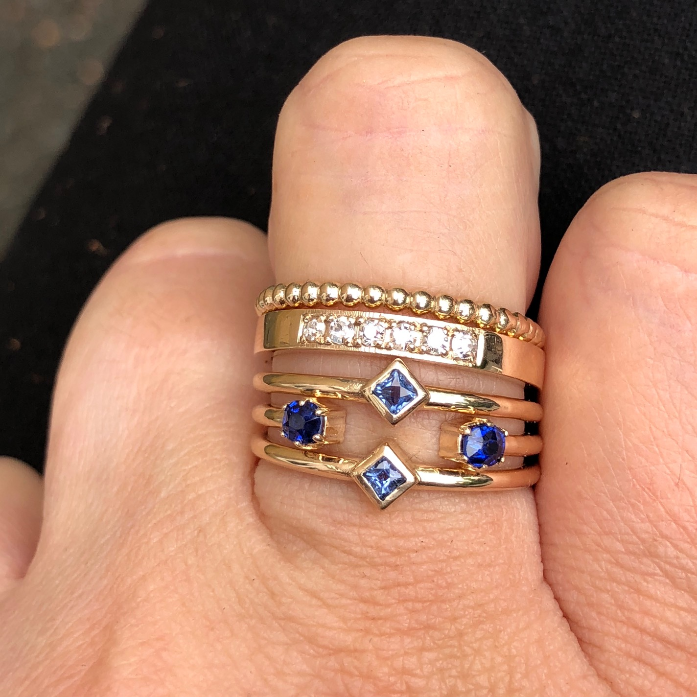 Delicate yellow gold stackable ring