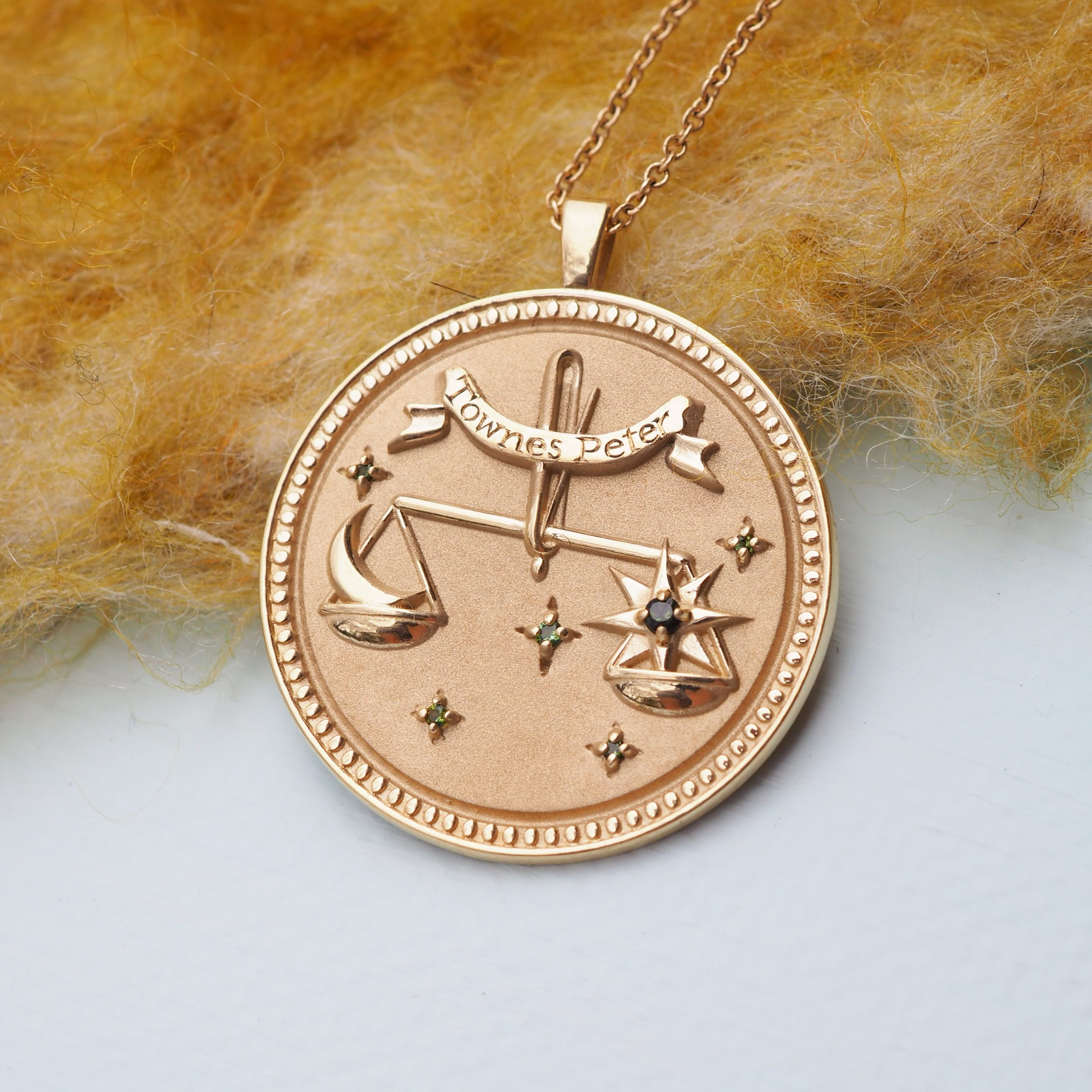 Yellow Gold Libra Pendant