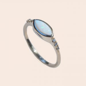Marquise Opal and Diamond Ring