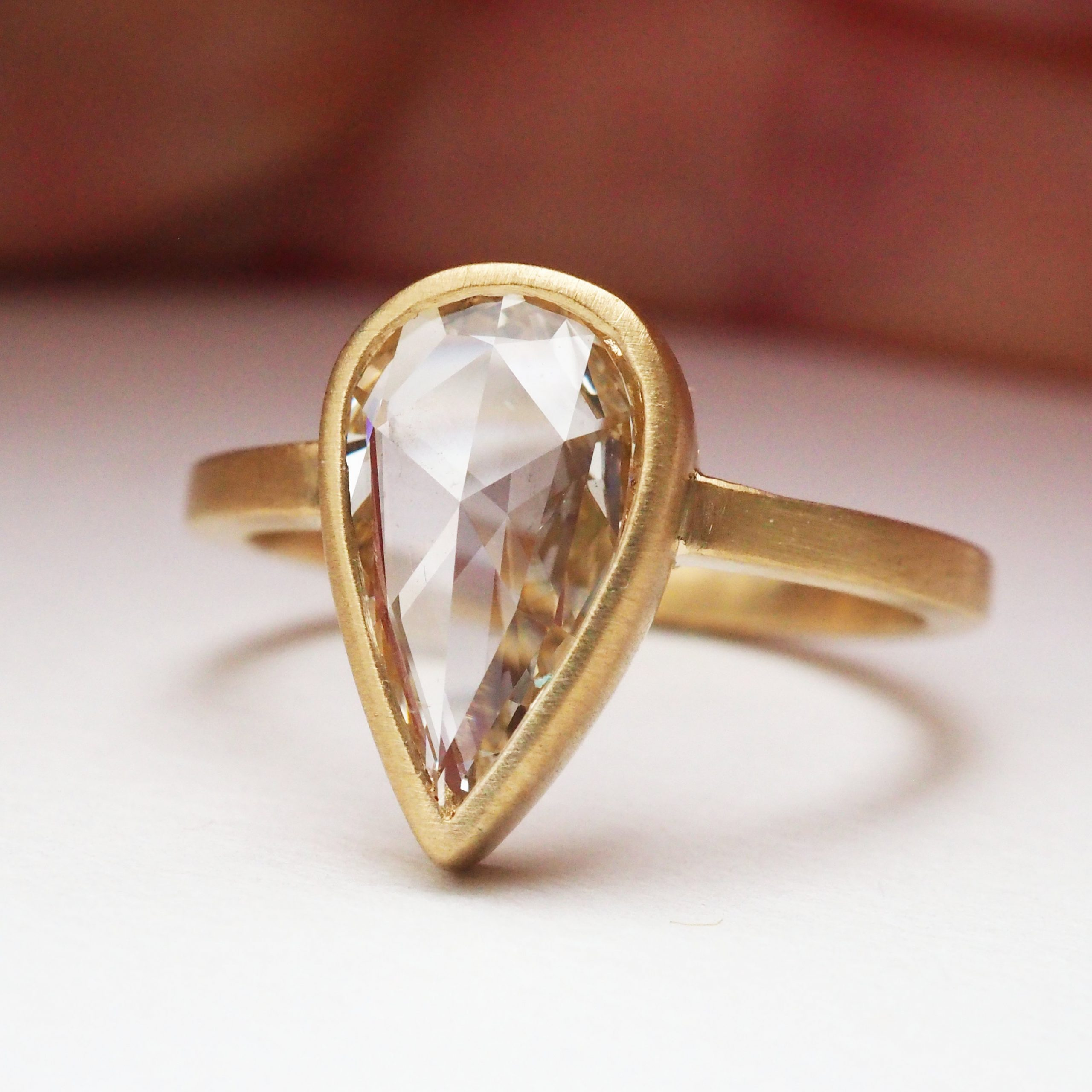 Rose Cut Pear Diamond Engagement Ring