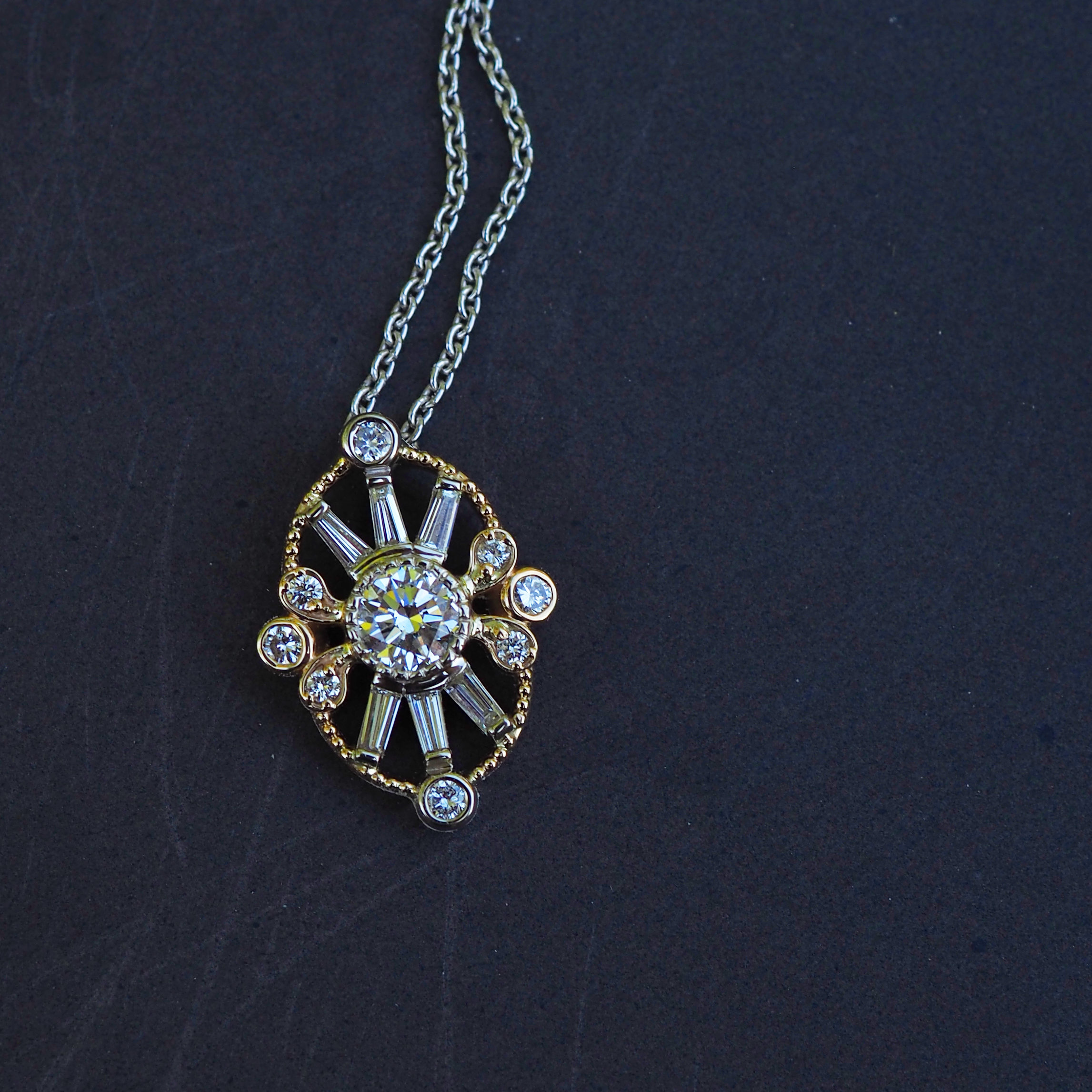 Victorian Inspired Two Tone Diamond Pendant