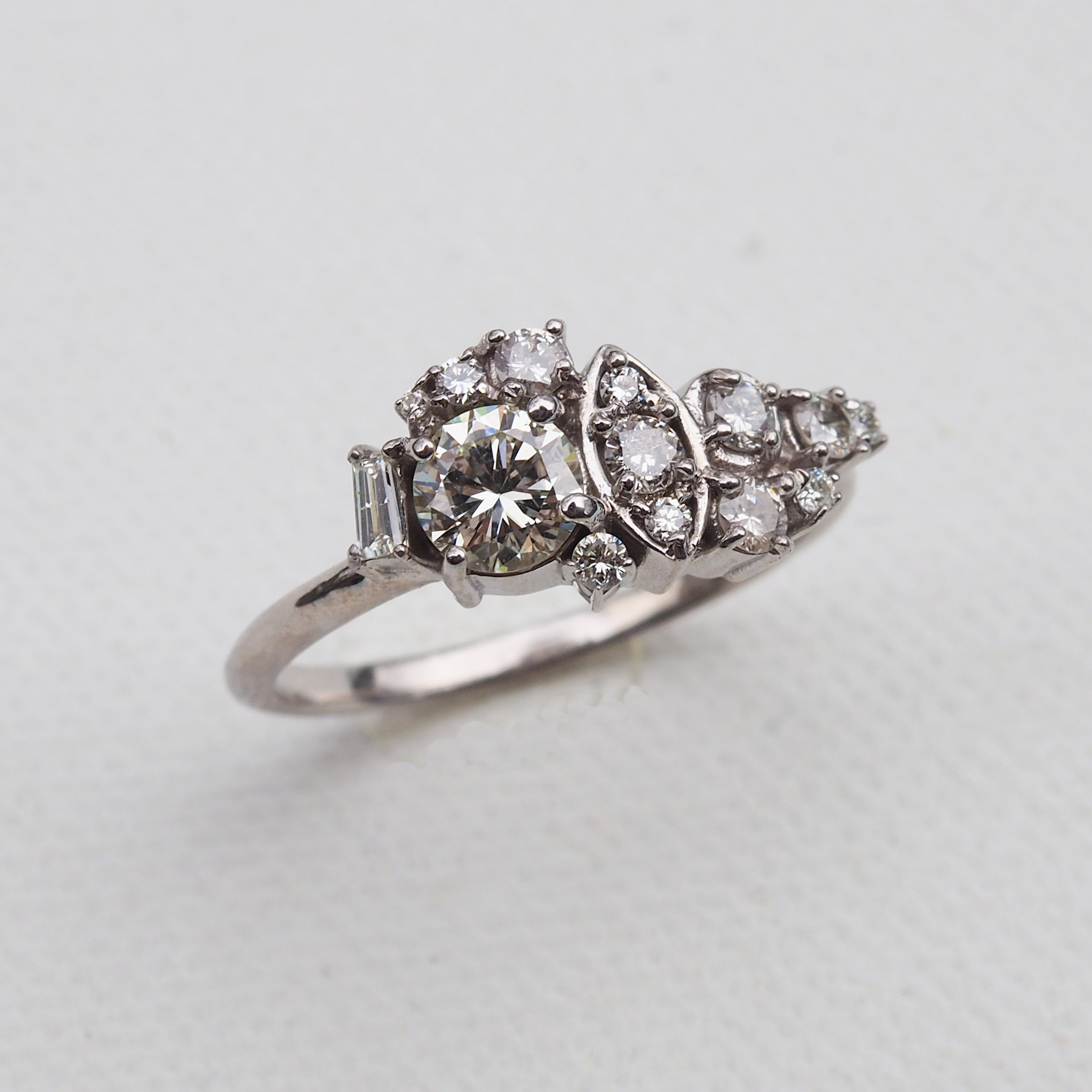 White Gold and Diamond Modern Cluster Ring