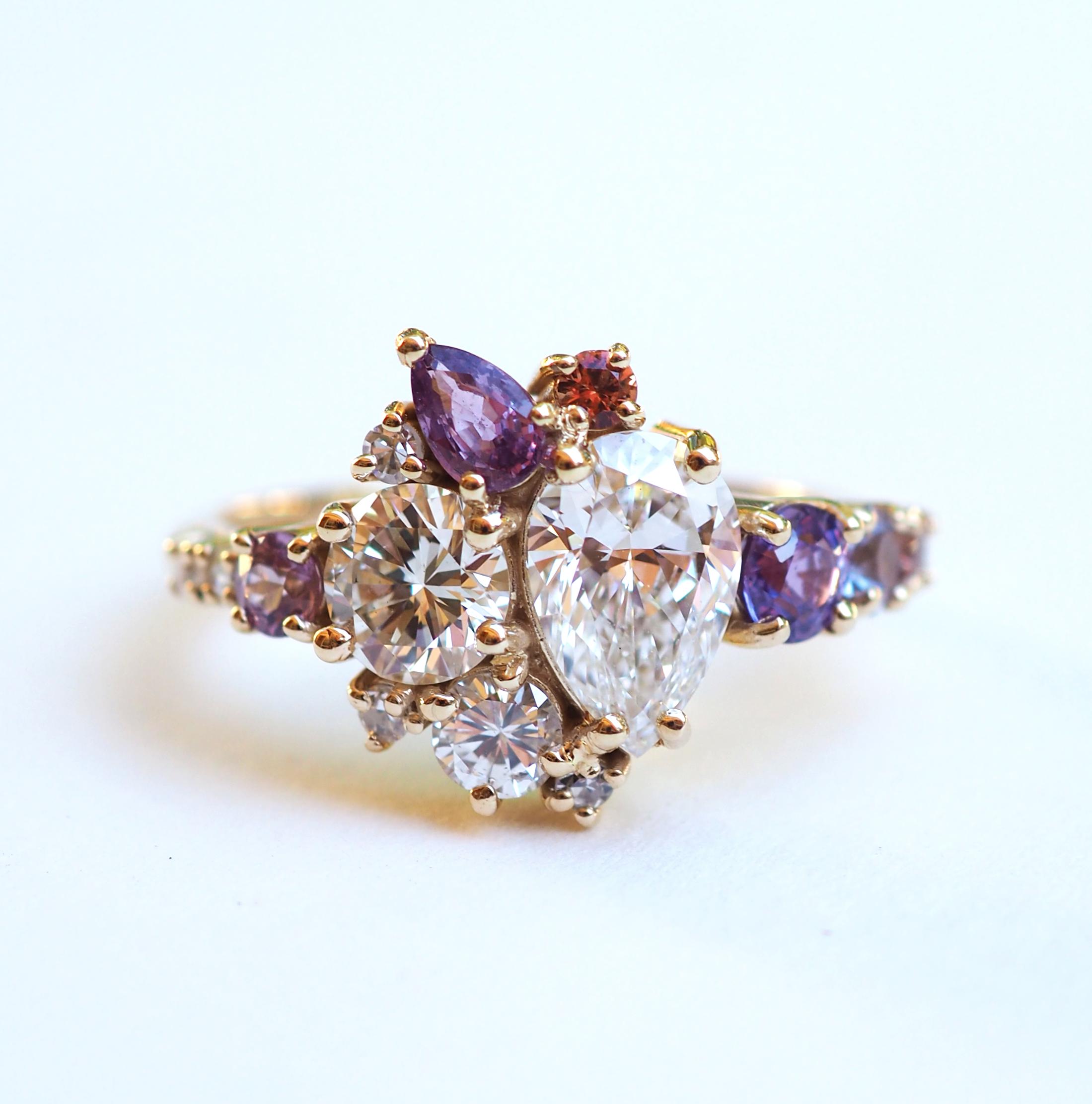 Pear Diamond Cluster Ring